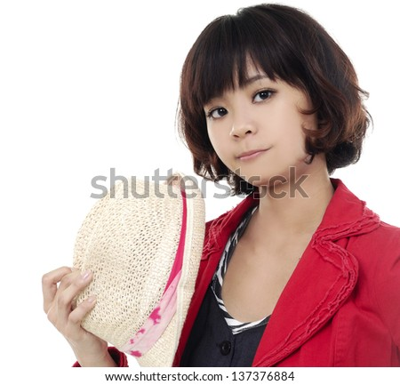 Portrait of girl in a hat on white background