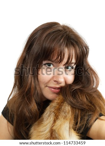 portrait of  girl in fox fur over white background
