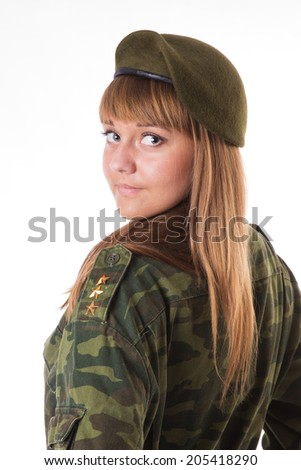portrait of girl in  military beret