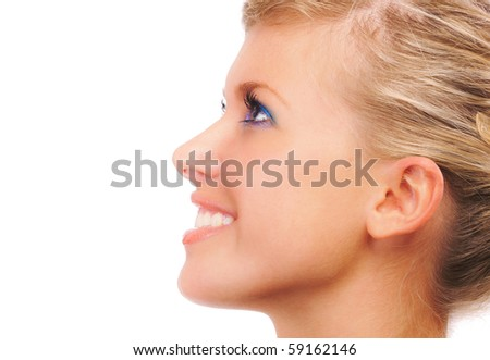 Portrait of girl in profile, on white background.
