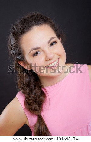 Portrait of girl in studio - stock photo