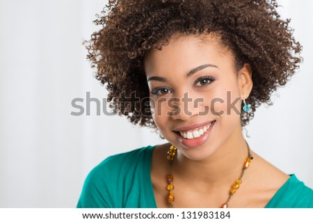 Portrait Of Girl Isolated Smiling - stock photo