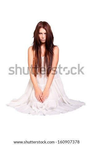 portrait of girl wearing white dress. isolated on white background - stock photo
