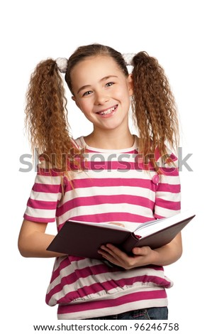 Portrait of girl with book isolated on white background - stock photo