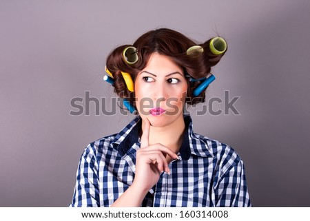 portrait of girl with curlers