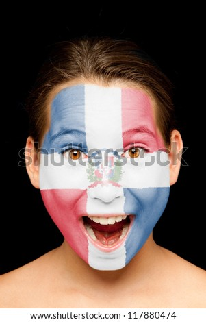 portrait of girl with Dominican Republic flag painted on her face - stock photo