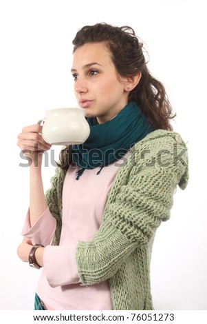 portrait of  girl with milk cup