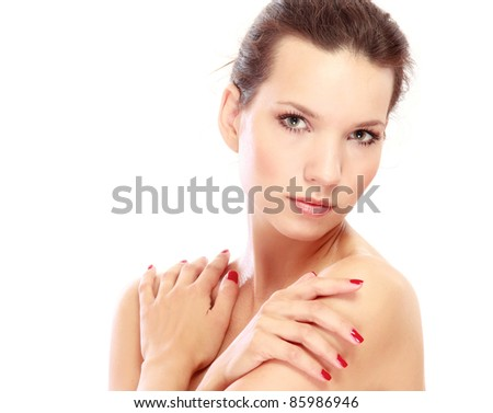 Portrait of girl with perfect skin, isolated on a white background