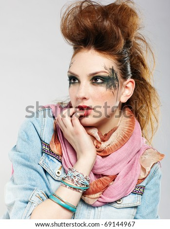 portrait of glam punk redhead girl posing - stock photo