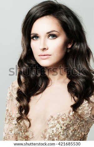 Portrait of Glamorous Woman. Perfect Face - stock photo