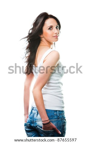 Portrait of glamorous young sexy woman wearing blue jeans on white - stock photo