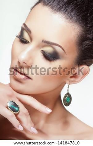 Portrait of glamour woman, closeup shot - stock photo