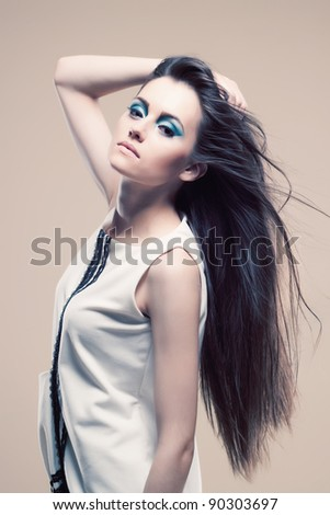portrait of glamour young girl with beautiful hair
