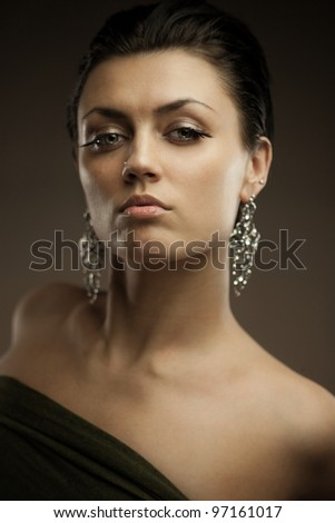 Portrait of gorgeous brunette woman.  Shallow depth of field