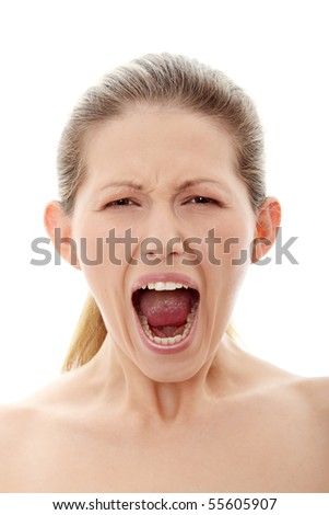 Portrait of gorgeous screaming female isolated on white - stock photo