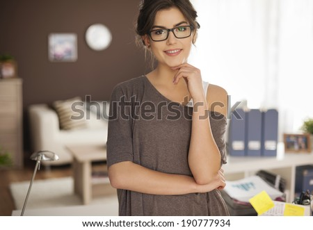 Portrait of gorgeous woman at home  - stock photo