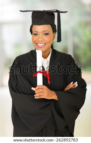 portrait of gorgeous young female african college graduate