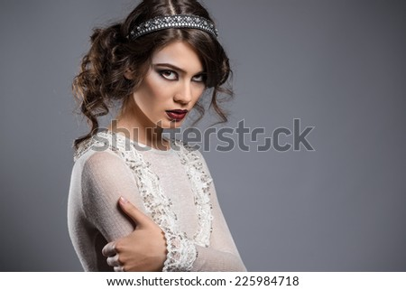 Portrait of gorgeous young lady   - stock photo