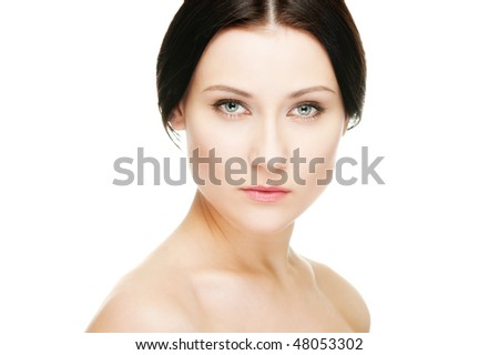 portrait of graceful young woman. isolated on white
