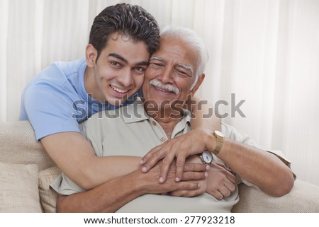 Portrait of Grandfather and grandson - stock photo