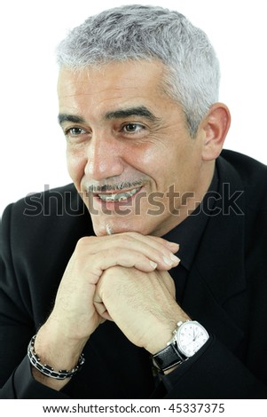 Portrait of grey haired man thinking, smiling. Isolated on white background.