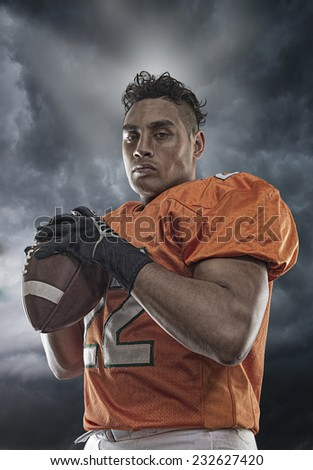 Portrait of gridiron player - stock photo