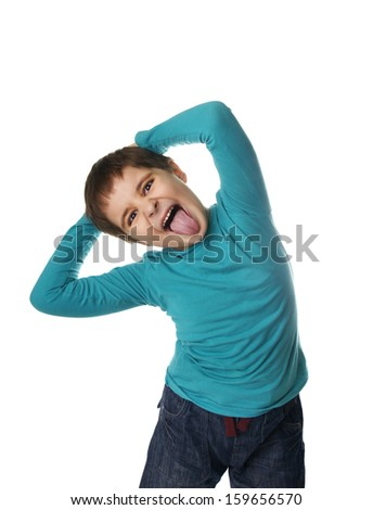Portrait of grimacing crazy little boy isolated on white background - stock photo