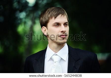 Portrait of groom - stock photo