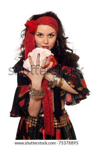 Portrait of gypsy woman with cards. Isolated