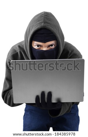 Portrait of hacker isolated on white background. shoot in the studio