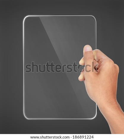 portrait of hands holding futuristic transparent tablet pc - stock photo