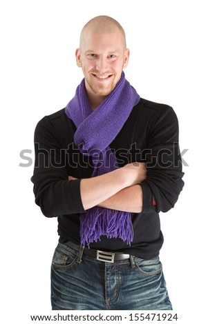 Portrait of handsome bald man in scarf posing isolated on white. - stock photo