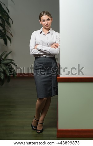 Portrait Of Handsome Beautiful Young Businesswoman Standing Arms Crossed - Successful Business Woman At Work