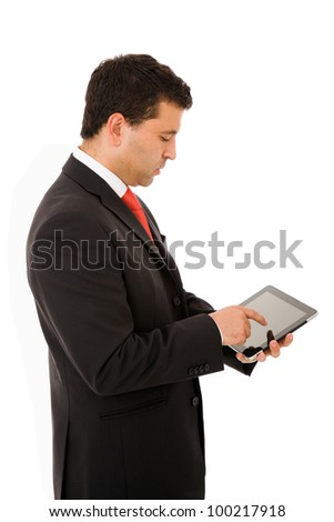 Portrait of handsome business man with tablet computer. Isolated over white background.