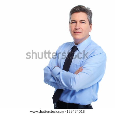 Portrait of handsome Businessman isolated on white background. - stock photo