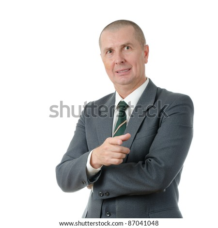 Portrait of handsome businessman pointing at you isolated on white background - stock photo