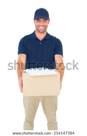 Portrait of handsome courier man with parcel on white background - stock photo