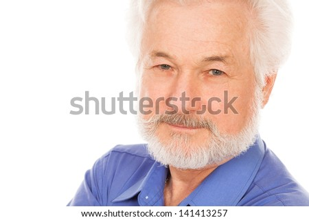 Portrait of handsome elderly man with beard on a white background