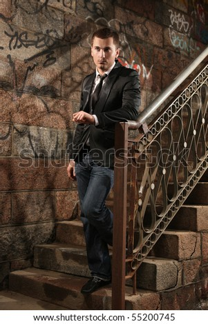 portrait of handsome fashionable guy - stock photo