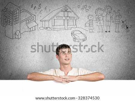 Portrait of handsome male holding blank white ad board - stock photo