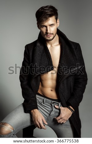 Portrait of handsome male model - stock photo
