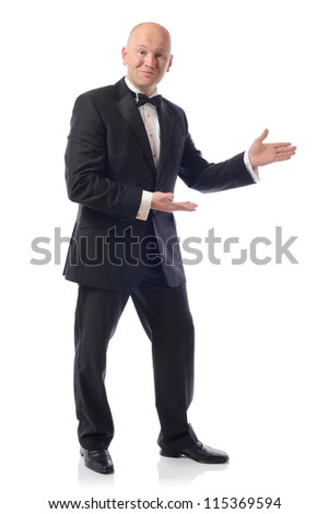 Portrait of handsome male professional presenting your product over white background