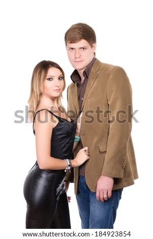 Portrait of handsome man and pretty woman. Isolated on white - stock photo