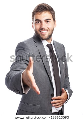 portrait of handsome man greeting gesture on white