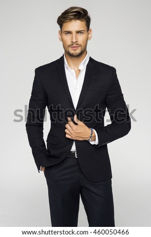 Portrait Handsome Man Black Suit Stock Photo 460050466 ...