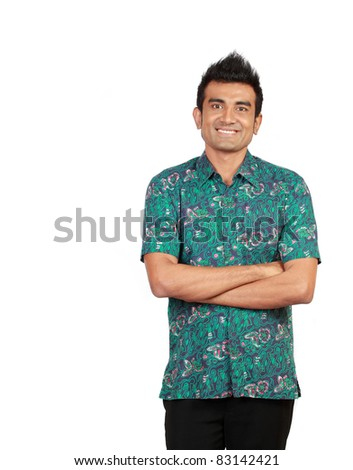Portrait of handsome man standing against white background - stock photo