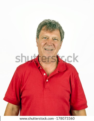 portrait of handsome man with red shirt - stock photo