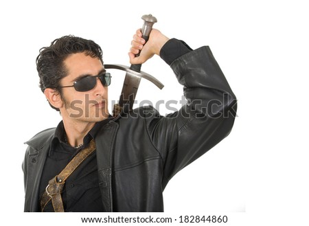 Portrait of handsome  man with sword.