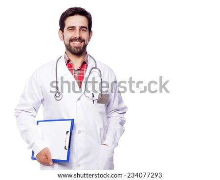 Portrait of handsome medical doctor holding a clipboard, isolated on white background