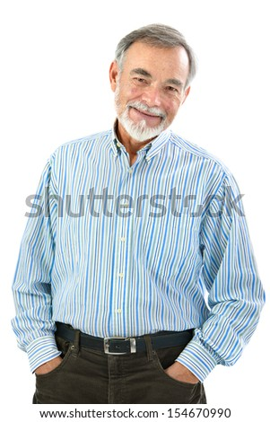 Portrait of handsome senior man standing on white background - stock photo
